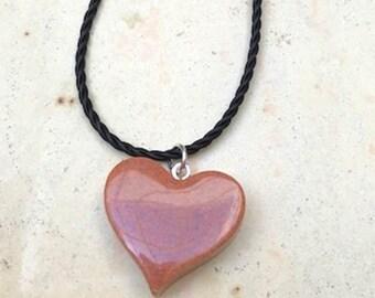 Dark Orange Heart Necklace