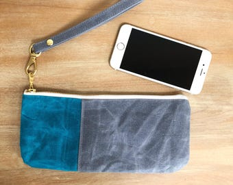 Small Teal and Grey Waxed Canvas Zippered  Pouch with Wrist Strap, Wristlet, Clutch, Zippered Pouch