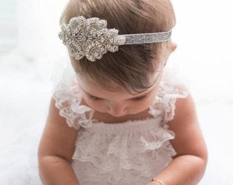 Flower Girl Headband / Headpiece, Rhinestone Headband, Gatsby Headband, Wedding Headband, Flower Girl Gift / Baptism Headband
