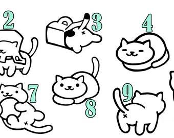 Cute Vinyl Neko Atsume Cat Decal for Car/Laptop