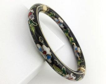 Chinese Black Cloisonne Bangle Bracelet, Hinged, Gold Clasp, Floral, Flowers, Enamel, Blue, Green, Red, Vintage, 1980s