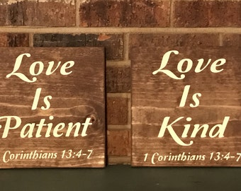 Love is Patient Love is Kind series of 6 wood signs