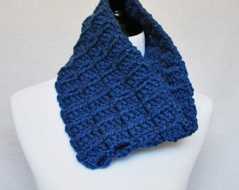 Blue Crochet Cowl, Chunky Neck Warmer, Short Infinity Scarf , Crochet Blocks, Navy, Royal, Denim Blue