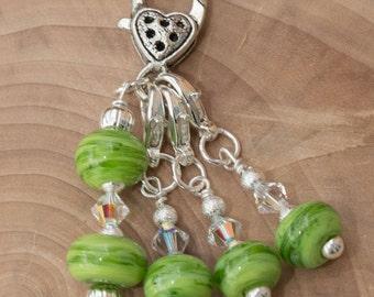 Stitch Markers Handmade Glass Bead & Swarovski Crystals