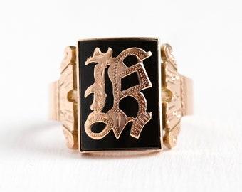 Antique Signet Ring - 10k Rose Gold Initial Letter K Black Onyx Statement - Vintage Victorian Dated 1890 Size 13 Mens Dark Gem Fine Jewelry