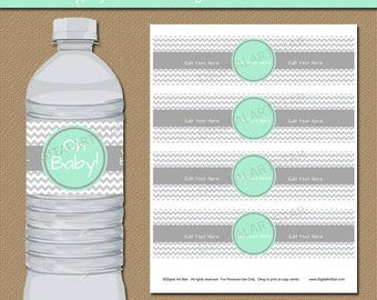 Mint & Grey Baby Shower Decorations, Printable Water Bottle Labels, Mint Green and Grey Chevron Party Supplies, Baby Shower Party Favors BB1