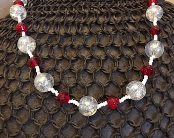 Red, White and Clear beaded choker style necklace