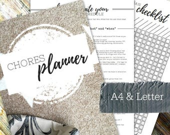 CHORES PLANNER - Printable planner - Instant Download - Home Management Binder - Home File - 28 page pdf in A4 and Letter sizes