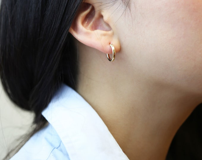 14K gold Mini Hoop Earrings // 14K solid yellow gold and white gold Click Hoop Earrings // Everyday Earrings // Gifts for her