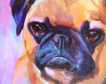 Pug Art Print of Original Acrylic Painting - 8x10