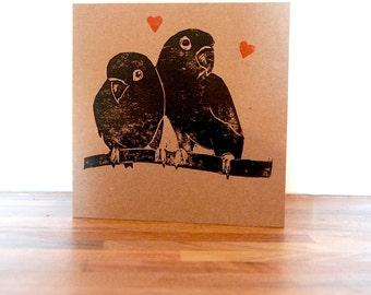 Lino print valentines card. Lovebirds valentine card. Hand printed card. Be my valentine.
