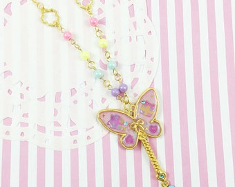 Butterfly Necklace | Magic Wand Necklace | Mahou Kei Necklace | Fairy Kei | Magical Girl Necklace | Kawaii Necklace | Sweet Lolita Necklace
