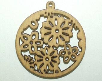 Wood Flower 4 Pendants included 35 mm