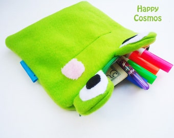 Frog Zipper Pouch - Pencil Pouch, Pencil Case, School Supplies, Make Up Bag, 3DS Case, Phone Case, Coin Purse
