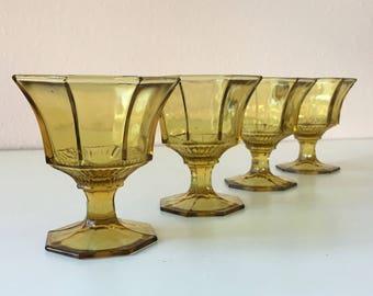 vintage Amber Independence Octagonal footed sherbet dessert champagne glassware  set of 4