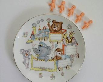 Vintage Nursery Decor, Newborn Baby Gift, Porcelain Decorative Plate, Baby Animals