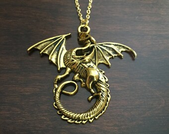 dragon, dragon necklace, dragon jewelry, gold dragon, gold dragon necklace, dragon pendant, dragons, jewellery, gold necklace, necklace