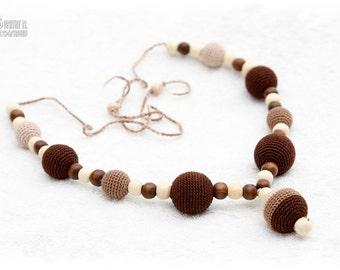 SALE Breastfeeding Nursing mom necklace Teething necklace - brown,beige,cream, mom accessory.