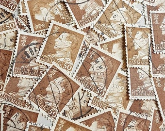 90+ Brown postage stamps from Denmark, Brown Stamp Lot, off paper used stamps, decoupage, collage, ephemera (e338)