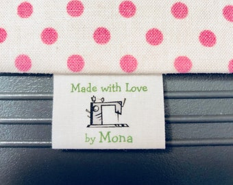 sewing labels 40 Custom, precut washable, frayless, loop fold  sewing labels with crochet/yarn graphic for personal touch