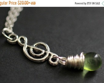 SUMMER SALE Treble Clef Necklace. Music Necklace. Green Teardrop Necklace. Musical Note Necklace in Silver. Handmade Jewelry.