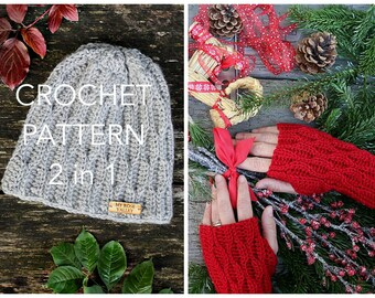 Crochet PATTERN collection 2 in 1 - Pine Tree Beanie and Wrist Warmers - crochet beanie, crochet hat, fingerless gloves, US and UK terms