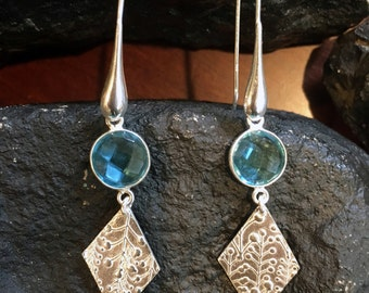 Silver Topaz Earrings Silver Flower Earrings Holiday gift  Flower earrings December Birthstone Earrings Blue Topaz Lily of Valley Earrings