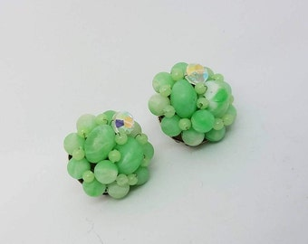 Beaded Mint Green and Aurora Borealis Clip on Earrings Signed Japan 1950