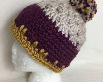 Fifi Hat- Taupe/Plum/Yellow