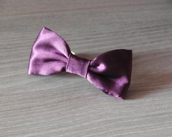 Plum bow hair clip