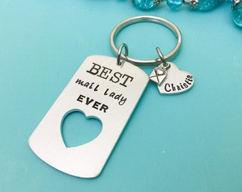 Best Mail Lady Ever Keychain-Hand Stamped Jewelry-Mail Man Gift-Mail Lady Gift-Personalized Mail Carrier Gift-Postal Carrier-Personalized