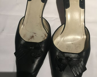 Gucci Open Back Black Leather Shoes