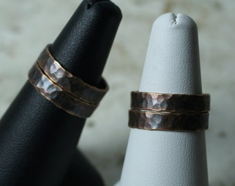 Hand hammered textured antique copper band ring (item ID ACN)
