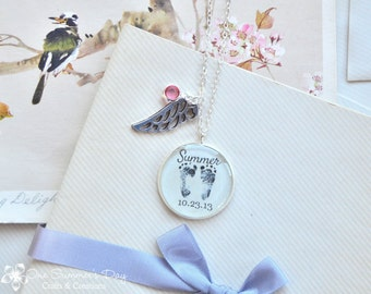 Personalized Baby Footprint Necklace, Resin Necklace with Angel Wing and Birthstone, Baby's Own Foot print
