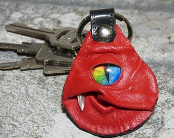 Monster Leather Key Chain Ring Fob Hand Made With Face Eye Key Purse Charm Harry Potter Labyrinth 337