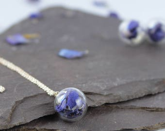 Mini Dark Blue Flower petal Necklace with silver chain