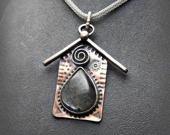 Mixed Metals Copper Sterling Silver Birdhouse Pendant with Flashy Labradorite Stone