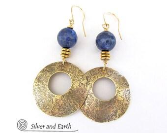 Blue Lapis Earrings, Brass Hoop Earrings, Handmade Bold Chic Modern Jewelry, Gold Hoop Dangle, Lapis Lazuli Earrings, Blue Stone Earrings