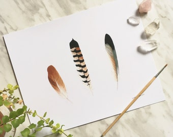 Feather Print, Feather Art, Feather Painting, Feather Artwork, Bohemian Art, Boho Decor, Boho Art, Boho Wall Art, Feather Watercolor