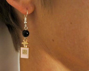 Drop earring, pink, black, gold