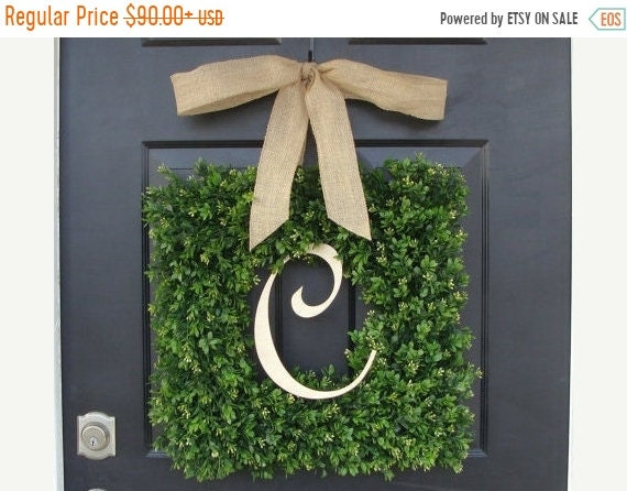 SPRING WREATH SALE Monogram Boxwood Wreath, Boxwood Monogram Wreath with Burlap Bow, Housewarming Gift, Wedding Wreath 16-22 Inch Wreath ava