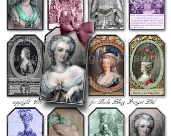 Shades Of Marie Antoinette, gift tags, tag collage sheets, INSTANT Digital Download at Checkout, fairies, Marie Antoinette, Paris,queen