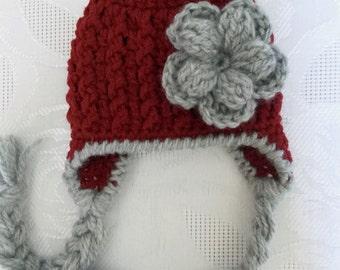 Baby earflap hat Newborn girl hat Red newborn hat Newborn winter hat Baby girl hat Crochet newborn hat Newborn earflap hat