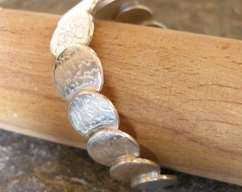 Sterling Silver Circles Coins Textured Bangle Cuff.  Various size and silver thickness options.  A beautiful gift for her or treat yourself!