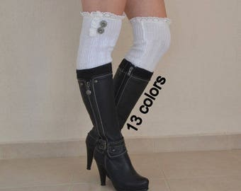 White leg warmers women/Cable knit leg warmers/Boot socks/Boot cuffs/Over the knee socks/Bot covers/Women leggings/Winter acessory