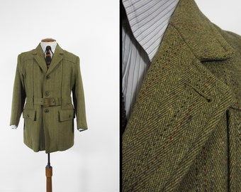 Vintage JC Cording Norfolk Jacket Belted Green Tweed Hunting Jacket - Size 44
