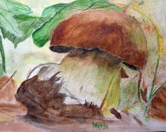 watercolor Autumn Brown bolete mushroom