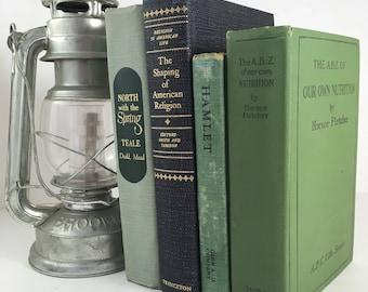 Green Vintage Books / Book Decor / Instant Library / Book Bundle / Decorative Books / Wedding Decor / Home Decor
