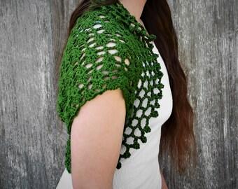 Crocheted shrug, dark green, silk and bamboo, crochet shrug, fashion bolero, crochet bolero, crocheted jacket, handmade capelet