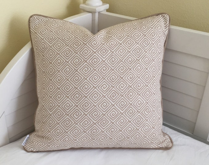 Schumacher Greek Key in Sand Designer Pillow Cover With or Without Piping - Square, Lumbar and Euro Sizes